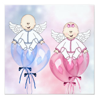 Angels Balloons Pink and Blue Reveal Card
