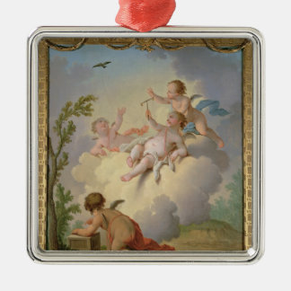 Angels Playing with a Bird in a Landscape Silver-Colored Square Decoration