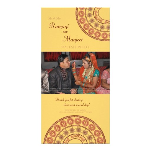 Anglo Indian Wedding Thank You Photo Card