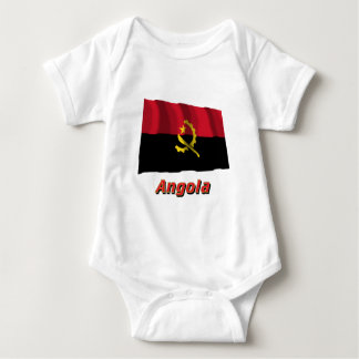 Angola Waving Flag with Name Baby Bodysuit