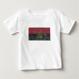 Angolan Flag on Rough Wood Boards Effect Baby T-Shirt