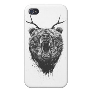 Angry bear with antlers case for the iPhone 4