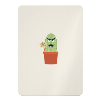 Angry cactus with free hugs 13 cm x 18 cm invitation card