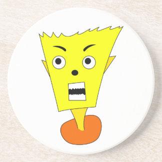 Angry Cartoon Face Drink Coaster