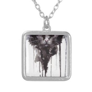Angry cat T shirt Silver Plated Necklace