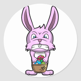 Angry Easter Bunny Classic Round Sticker