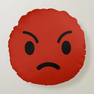 Angry Emoji / Smiley Round Cushion