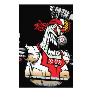Angry Evil Robot Stationery Paper