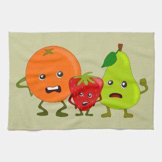Angry Fruit: Orange, Strawberry, Pear Cartoon Towels