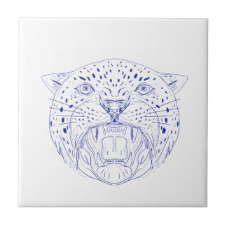 Angry Jaguar Head Drawing Tile