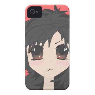 Angry Little Chibi Girl with Black Hair iPhone 4 Case-Mate Case