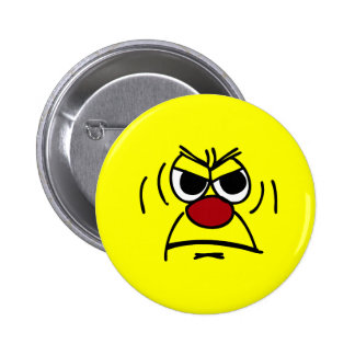 Angry Smiley Face Grumpey 6 Cm Round Badge