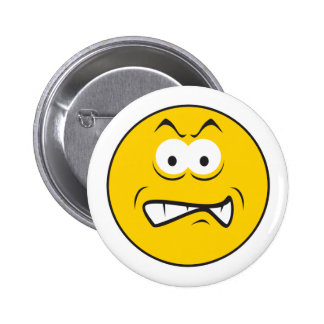 Angry Snarling Smiley Face 6 Cm Round Badge