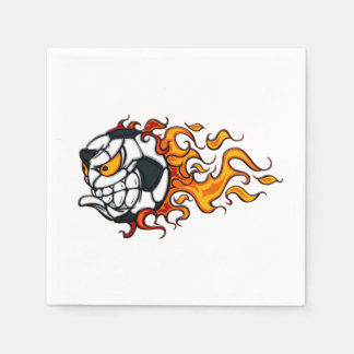 Angry soccer ball on fire disposable napkin