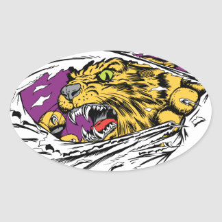 Angry Tiger Ripping Oval Sticker