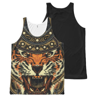 Angry Tiger Warrior Orange Gold Black Tank Top All-Over Print Tank Top