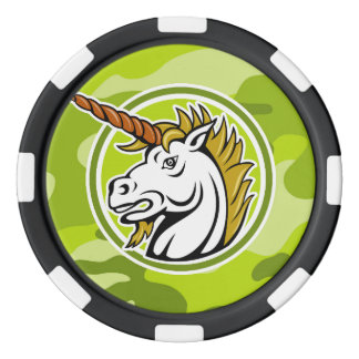 Angry Unicorn; bright green camo, camouflage Poker Chips Set