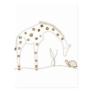 Animal Giraffe - Brown and White Postcard