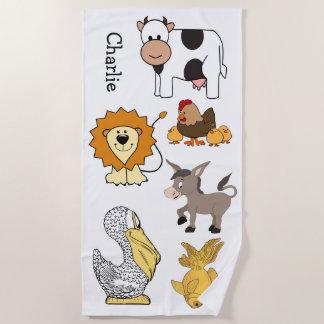 Animal Illustrations Custom Name kids' beach towel