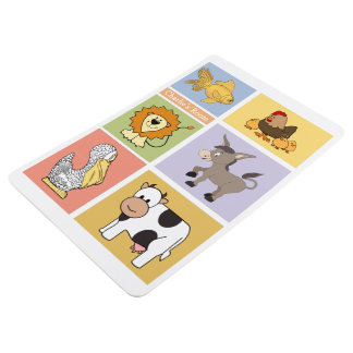 Animal Illustrations custom name kid's floor mat