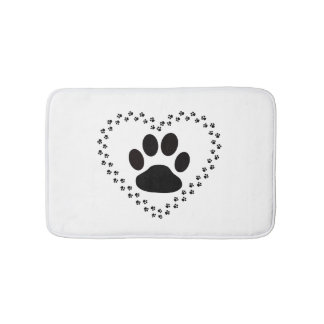 Animal love paw print bathmat