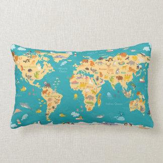Animal Map of the World For Kids Lumbar Cushion