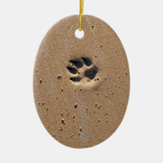 Animal paw print in sand christmas ornament