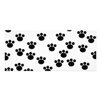 Animal Paw Print Pattern. Black and White. Personalized Rack Card