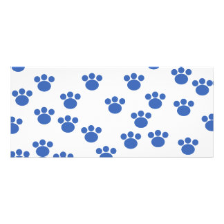 Animal Paw Print Pattern. Blue and White. Rack Card Design