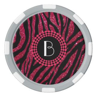 Animal Print Glitter Zebra Pattern and Monogram Poker Chips