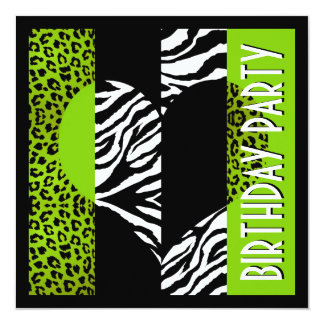 Animal Print Green Leopard Black and White Zebra Card
