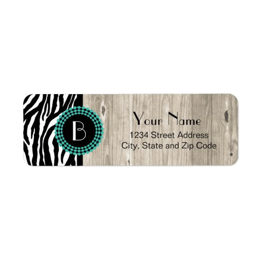 Animal Print Zebra Pattern and Monogram Return Address Label