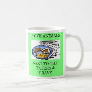 animal rights food police joke, animal rights f... classic white coffee mug