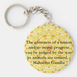 animal rights quote - Mahatma Gandhi Key Ring