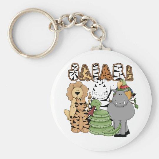 Animal Safari Basic Round Button Key Ring