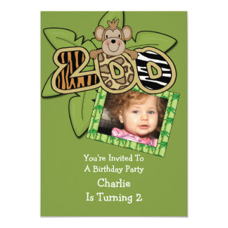 Animal Zoo Birthday Party Card