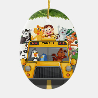 Animals and bus ceramic oval decoration
