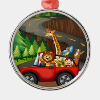 Animals and car Silver-Colored round decoration