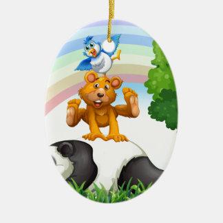 Animals and jungle ceramic oval decoration