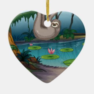 Animals and pond ceramic heart decoration