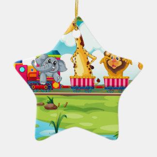 Animals and train ceramic star decoration