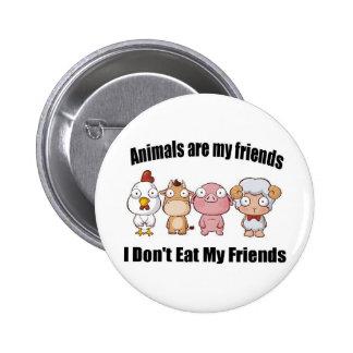 Animals are my friends 6 cm round badge