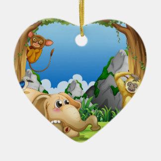 Animals Ceramic Heart Decoration
