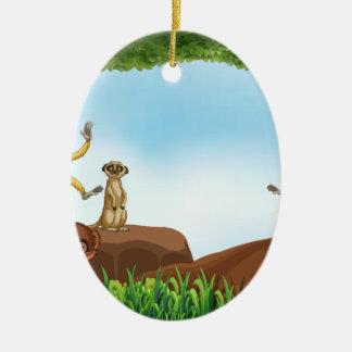 Animals Ceramic Oval Decoration
