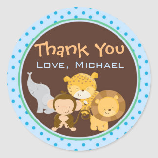 Animals Jungle Gift Favour Label Sticker Blue