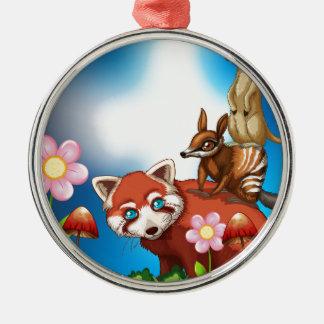 Animals Silver-Colored Round Decoration