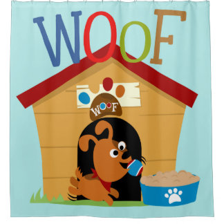 Animals Woof Dog in Doghouse Puppy Shower Curtain