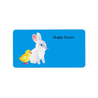 Animated Easter Bunny and chicken Address Label