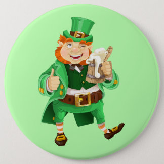 Animated Irish Leprechaun 6 Cm Round Badge