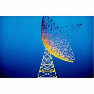 Animated satellite dish over blue background standing photo sculpture